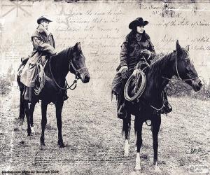 Zwei Frauen cowboy puzzle