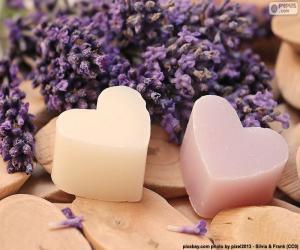 Zwei Herzen mit Lavendel puzzle