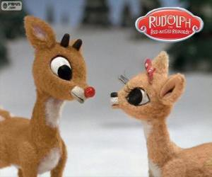 Zwei junge Rentiere Rudolph und Fireball puzzle