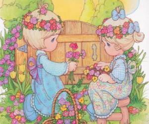 Zwei Mädchen sammeln die Blumen. Precious Moments puzzle
