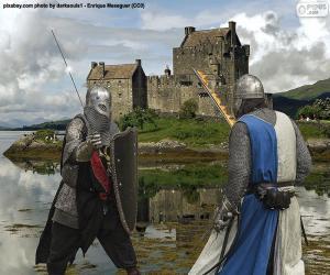 Zwei Ritter kämpfen in der Schlacht puzzle