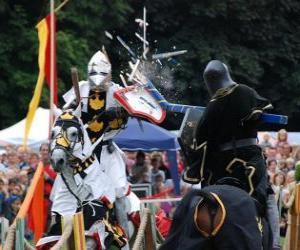 Zwei Ritter zu Pferd Teilnahme an einem Turnier puzzle