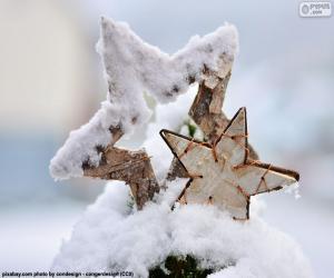 Zwei Sterne mit Schnee puzzle