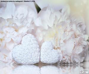 Zwei weiße Herzen puzzle