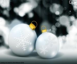 Zwei weiße Kugeln Weihnachten puzzle