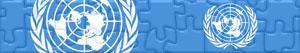 puzzles Flaggen und Logos der Vereinten Nationen - VN